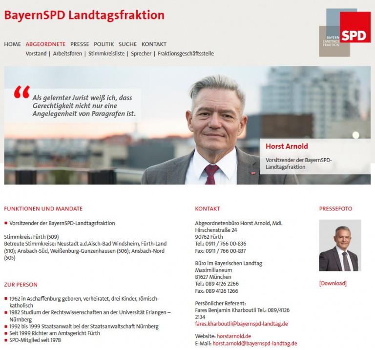 SPD-Landtagsfraktion - Infos zum Vorsitzenden, Horst Arnold